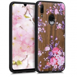 KW Wooden Case TPU bumper Huawei P Smart 2019 - Wood flowers Light Pink / Violet / Brown (48117.11)