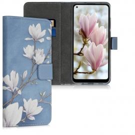 KW Wallet Case Samsung Galaxy A11 - Magnolias Taupe / White / Blue Grey (52170.01)