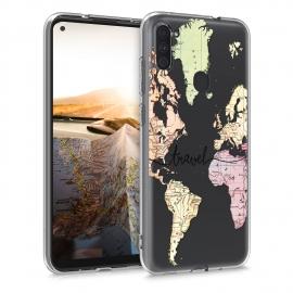 KW TPU Silicone Case Samsung Galaxy A11 - World Map Travel - Black / Multicolor / Transparent (52175.01)
