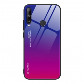 OEM Gradient Glass Durable Case Huawei P40 Lite E - Pink/Purple