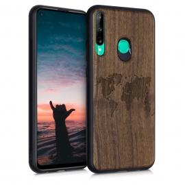 KW Wooden Case Huawei P40 Lite E - Travel Outline Dark Brown (53118.02)