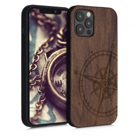 KW Wooden Case iPhone 12 Pro Max - Navigational Compass Walnut (52736.01)