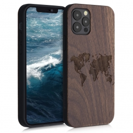 KW Wooden Case TPU bumper Apple iPhone 12 / 12 Pro - Travel Outline (52734.02)