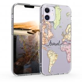 KW TPU Silicone Case iPhone 12 Mini - World Map Travel - Black / Multicolor / Transparent  (53038.02)