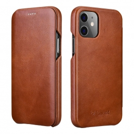 iCarer Vintage Series Curved Edge Leather Wallet case iPhone 12 Pro Max - Brown (RIX1202-BN)