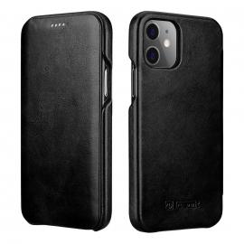 iCarer Vintage Series Curved Edge Leather Wallet case iPhone 12 Mini - Black (RIX1203-BK)
