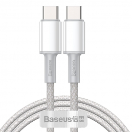 Baseus High Density Braided 100W Type-C to Type-C Fast Charge/Data Cable 5A , 1m - White (CATGD-02)