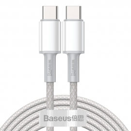 Baseus High Density Braided 100W Type-C to Type-C Fast Charge/Data Cable 5A , 2m - White (CATGD-A02)