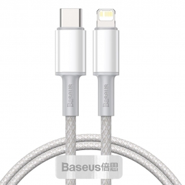 Baseus High Density Fast Charging Data Cable 20W Type-C to Lighting , 1m - White (CATLGD-02)