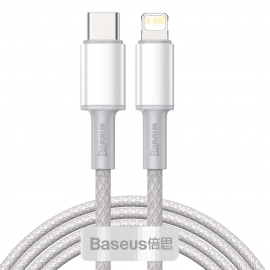 Baseus High Density Fast Charging Data Cable 20W Type-C to Lighting , 2m - White (CATLGD-A02)