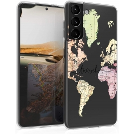 KW TPU Silicone Case Samsung Galaxy S21 - World Map Travel - Black / Multicolor / Transparent (54059.01)
