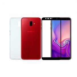 Vivid Set TPU + Tempered Glass Full Face Samsung Glaxy J6 Plus 2018  Black (VIGELLY61TNGLASSBK)