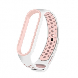 OEM Replacment band strap for Xiaomi Mi Band 5 Dots - White/Pink