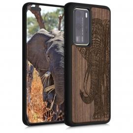 KW Wooden Case Huawei P40 Pro - Elephant Motif Dark Brown (52352.06)