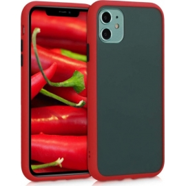 KW Shockproof Hard Cover with Soft TPU Bumper Apple iPhone 11 - Matte Transparent / Red (50412.02)