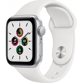 Apple Watch SE GPS Silver Aluminium Case 40mm with White Sport Band