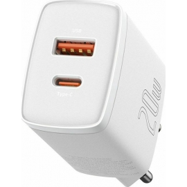 Baseus Compact quick charger USB Type C / USB 20 W 3 A Power Delivery Quick Charge 3.0 - White (CCXJ-B02)