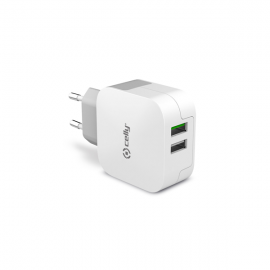 Celly Turbo Charge Travel Adapter 2 USB 3.4A White