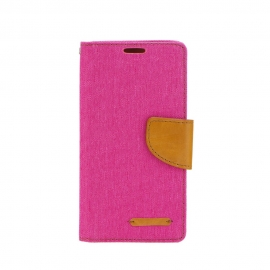 OEM Canvas Book Case Nokia 6 2018 - Pink