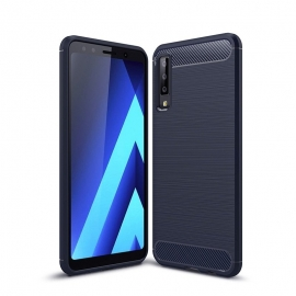 OEM Carbon Case Flexible Cover TPU Case for Samsung Galaxy A7 2018 - Blue
