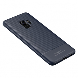 iPaky Carbon Fiber flexible cover TPU Samsung Galaxy S9 - Blue