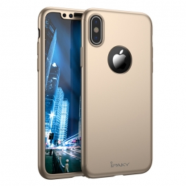 IPAKY 360 Full Cover Case & Tempered Glass iPhone X/XS - Gold