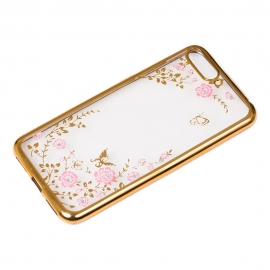 OEM Bloomy Stylish TPU Gel Case Flower Cover Huawei Y6 2018 - Gold