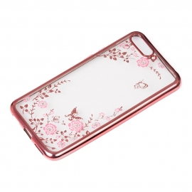 OEM Bloomy Stylish TPU Gel Case Flower Cover Huawei Y6 2018 - Pink