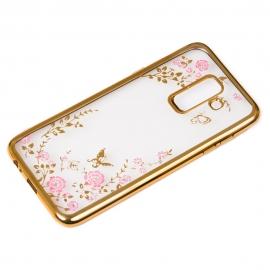 OEM Bloomy Stylish TPU Gel Case Flower Cover Samsung Galaxy A6 Plus 2018 - Gold