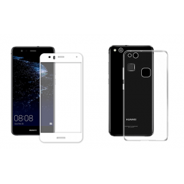 OEM Vivid Set Gelly Case Transparent + Tempered Glass Full Face White Huawei P10 Lite
