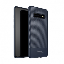 iPaky Carbon Fiber flexible cover TPU Samsung Galaxy S10 - Blue