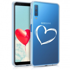 KW TPU Silicone Case Samsung Galaxy A7 2018 - Crystal Clear Heart Design (46430.05)