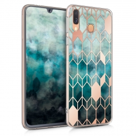KW TPU Silicone Case Samsung Galaxy A40 - Blue / Rose Gold (48543.02)