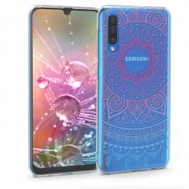 KW TPU Silicone Case Samsung Galaxy A50 - Blue / Dark Pink / Transparent (48060.03)
