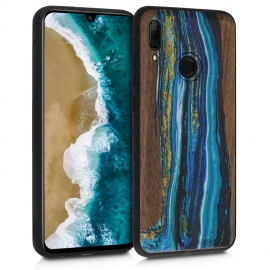 KW Wooden Case Huawei P Smart 2019 - Watercolor Waves walnut (48117.03)