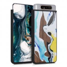KW Wooden Case Samsung Galaxy A80 - Watercolor Waves walnut (48664.01)