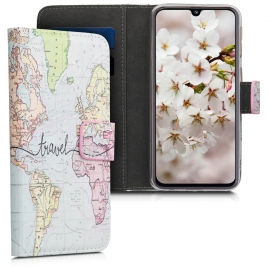 KW Leather Wallet Case Samsung Galaxy A40 - World Map Travel / Multicolor