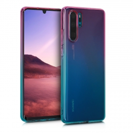 KW TPU Silicone Case Huawei P30 Pro - Bicolor Design Dark Pink / Blue / Transparent (47421.02)