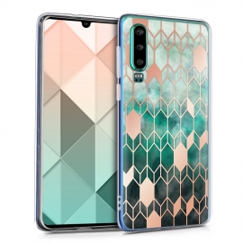 KW TPU Silicone Case Huawei P30 - IMD Design Blue / Rose Gold (47413.02)