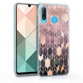 KW TPU Silicone Case Huawei P30 Lite - IMD Design Dark Pink / Rose Gold (47501.01)