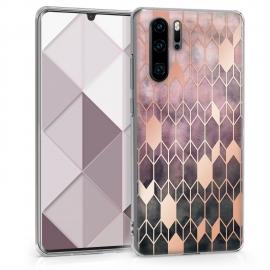 KW TPU Silicone Case Huawei P30 Pro - IMD Design Dark Pink / Rose (47422.02)