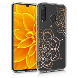 KW Crystal TPU Case Huawei P30 Lite - IMD Design - Rose Gold / Transparent (47501.13)