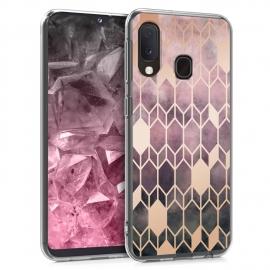 KW TPU Silicone Case Samsung Galaxy A20e  - IMD Design Dark Pink/Rose Gold (48744.03)