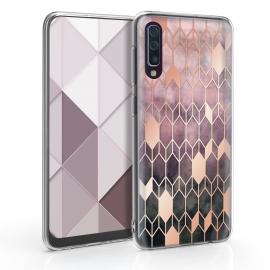 KW TPU Silicone Case Samsung Galaxy A50 - IMD Design Dark Pink/Rose Gold (48061.10)