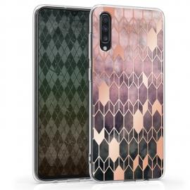 KW TPU Silicone Case Samsung Galaxy A70 - IMD Design Dark Pink/Rose Gold (48434.03)
