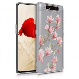 KW TPU Silicone Case Samsung Galaxy A80 - Magnolias Light Pink White (48444.01)