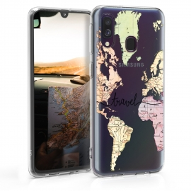 KW TPU Silicone Case Samsung Galaxy A40 - World Map Travel - Black / Multicolor / Transparent  (48542.05)