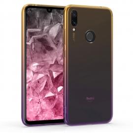 KW TPU Silicone Case Xiaomi Redmi Note 7 - Bicolor Design - Yellow / Violet / Transparent (47919.02)
