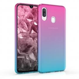 KW TPU Silicone Case Samsung Galaxy A40 - Bicolor Design, Dark Pink / Blue / Transparent (48542.03)