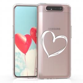KW TPU Silicone Case Samsung Galaxy A80 - Crystal Clear Heart Design (48444.02)